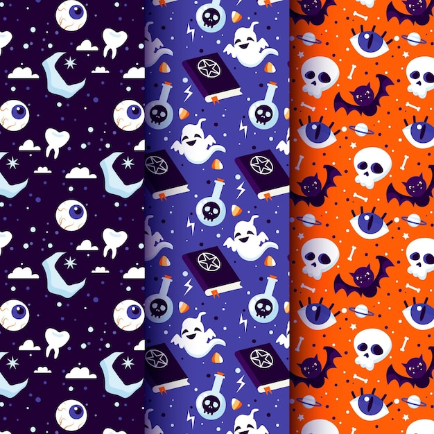 Flache design-halloween-muster Kostenlosen Vektoren