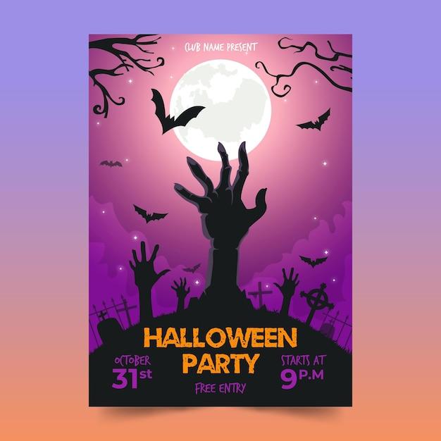 Flache design halloween party poster vorlage Premium Vektoren