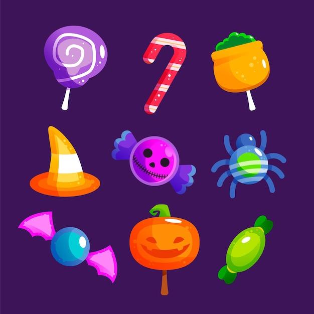 Flache design halloween süßigkeiten sammlung Kostenlosen Vektoren