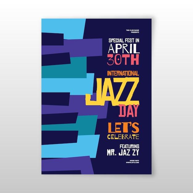 Flache design internationale jazz day flyer vorlage Kostenlosen Vektoren