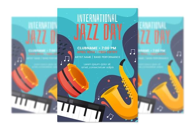Flache design internationale jazz tag poster vorlage Kostenlosen Vektoren