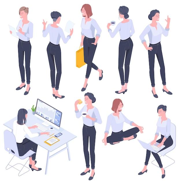 Flache design isometrische junge frauen charaktere posen, gesten und aktivitäten gesetzt. büro arbeiten, lernen, spazieren gehen, zu mittag essen, einkaufen, yoga meditieren, stehende menschen charaktere. Premium Vektoren