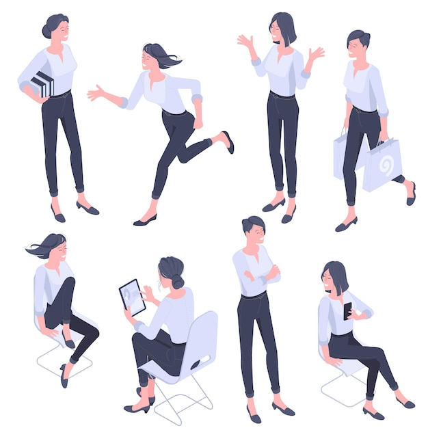 Flache design isometrische junge frauen charaktere posen, gesten und aktivitäten gesetzt. büroarbeiten, lernen, gehen, laufen, kommunizieren, stehende charaktere. Premium Vektoren