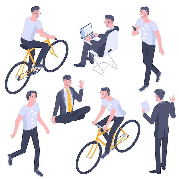 Flache design isometrische junge männer charaktere posen, gesten und aktivitäten gesetzt. büro arbeiten, lernen, gehen, kommunizieren, fahrrad fahren, yoga meditieren menschen charaktere. Premium Vektoren