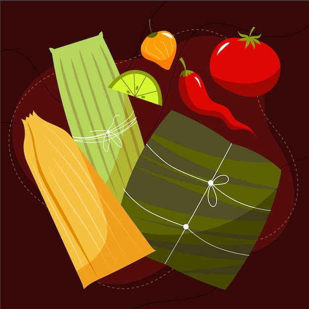 Flache design köstliche tamales Kostenlosen Vektoren