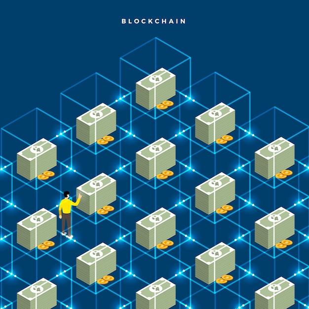 Flache design-konzept-blockchain Premium Vektoren