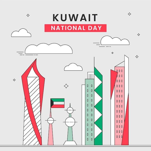 Flache design kuwait national day wolkenkratzer Premium Vektoren