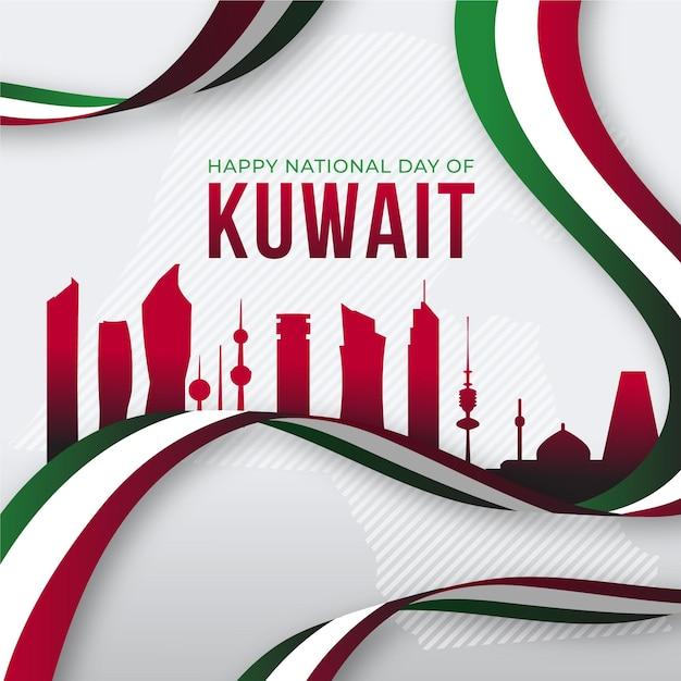 Flache design kuwait nationalfeiertag rote stadt Kostenlosen Vektoren