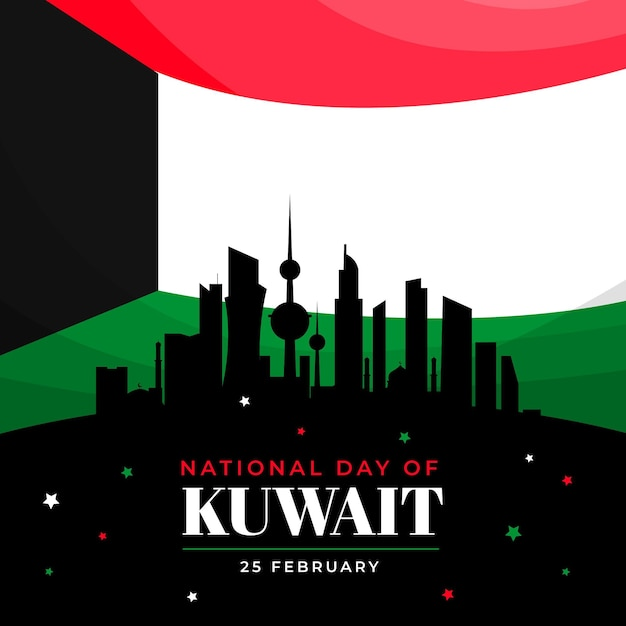 Flache design-kuwait-nationalfeiertagsillustration Kostenlosen Vektoren