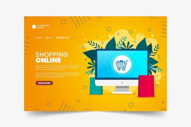 Flache design online-shopping-landingpage-vorlage Kostenlosen Vektoren