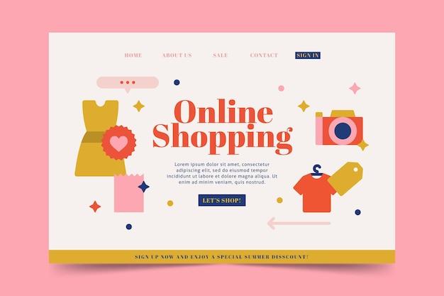 Flache design online-shopping-landingpage Kostenlosen Vektoren