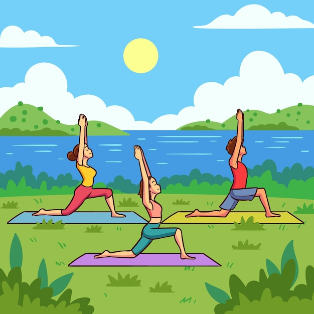 Flache design open air yoga klasse illustration Kostenlosen Vektoren