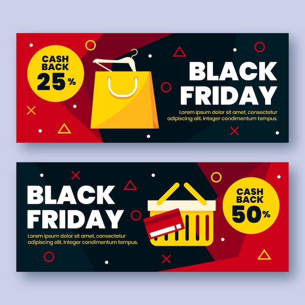 Flache design schwarze freitag banner vorlage Premium Vektoren