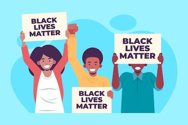 Flache design schwarze leben materie demonstranten Premium Vektoren