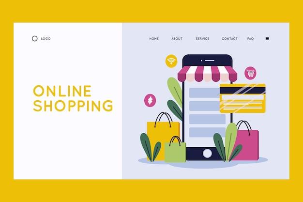 Flache design-shopping-online-landingpage-vorlage Kostenlosen Vektoren