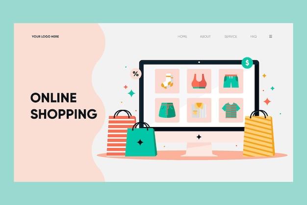 Flache design-shopping-online-landingpage Kostenlosen Vektoren