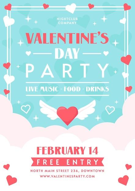 Flache design valentinstag party flyer vorlage Kostenlosen Vektoren