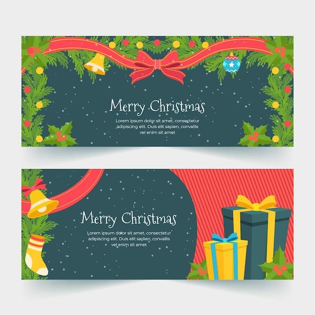 Flache design-weihnachtsfahnenschablone Kostenlosen Vektoren