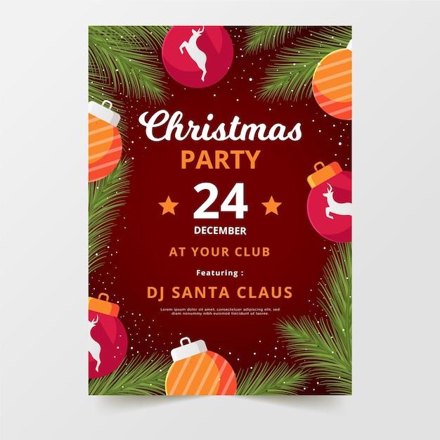 Flache design weihnachtsfeier flyer vorlage Kostenlosen Vektoren
