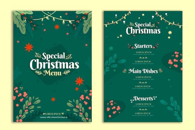 Flache design-weihnachtsmenüschablone Kostenlosen Vektoren