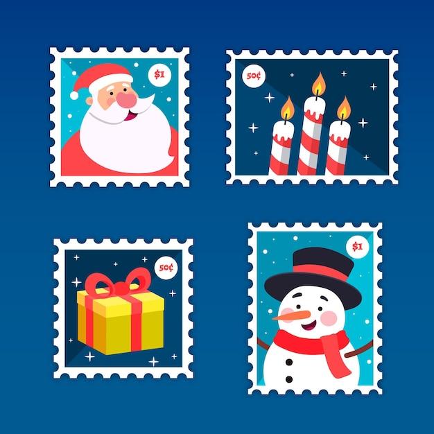 Flache design-weihnachtsstempelsammlung Kostenlosen Vektoren