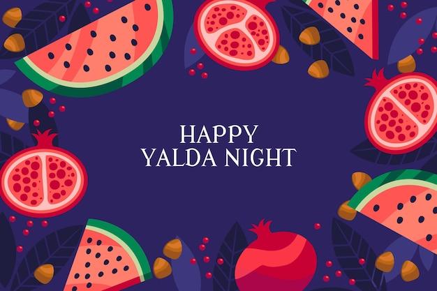 Flache design yalda nacht mit wassermelone und granatapfel Premium Vektoren