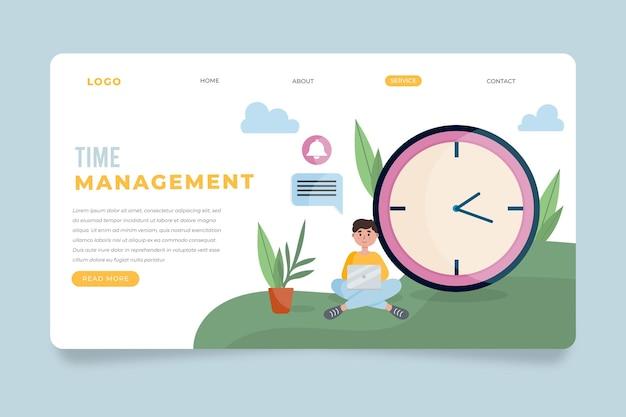 Flache design-zeitmanagement-landingpage Kostenlosen Vektoren
