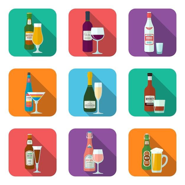 Flache designalkoholflaschen und -gläser mit den schattenikonen eingestellt Premium Vektoren