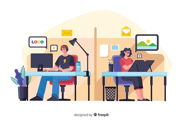 Flache designbüroangestellte, die an den schreibtischen sitzen Kostenlosen Vektoren