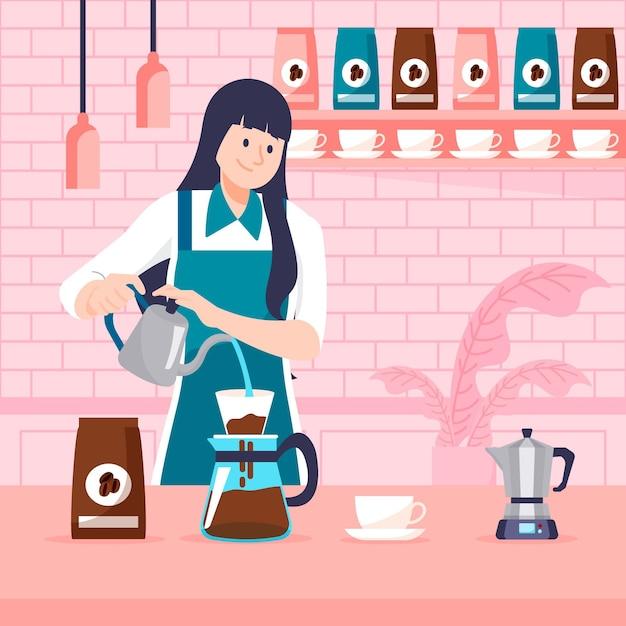 Flache designfrau, die kaffee macht Kostenlosen Vektoren