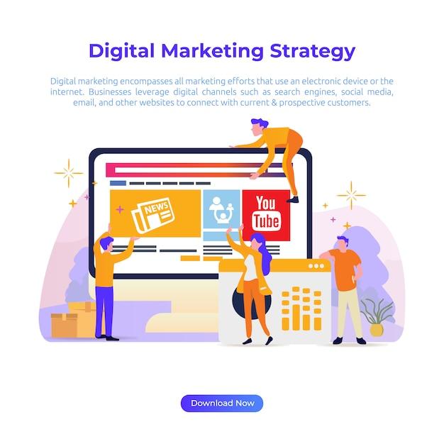 Flache designillustration der digitalen marketingstrategie für onlineshop oder e-commerce Premium Vektoren