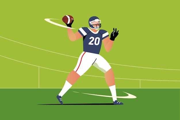 Flache designillustration des amerikanischen fußballspielers Kostenlosen Vektoren