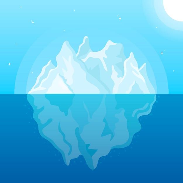 Flache designillustration des eisbergs mit sonne Kostenlosen Vektoren