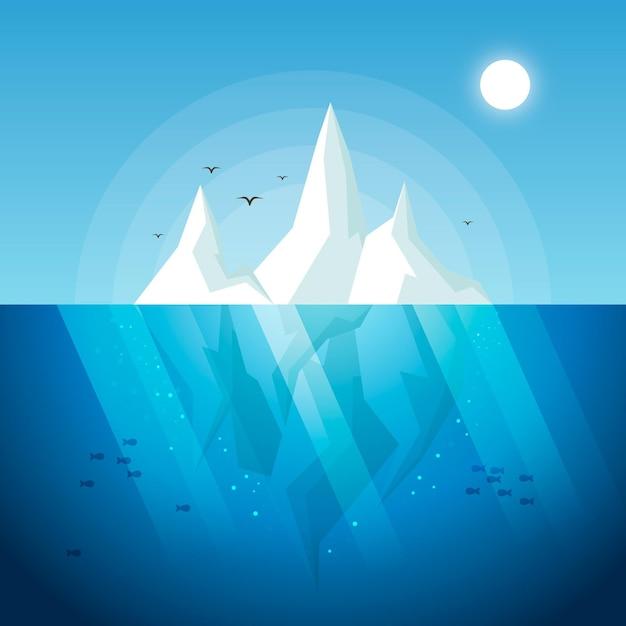 Flache designillustration des eisbergs mit vögeln und fischen Kostenlosen Vektoren