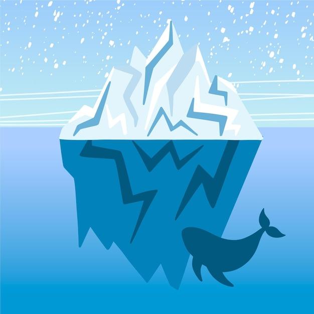 Flache designillustration des eisbergs mit wal Kostenlosen Vektoren