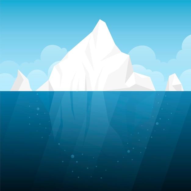 Flache designillustration des eisbergs Kostenlosen Vektoren