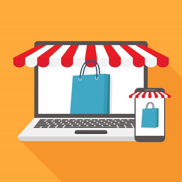 Flache designillustration des online-shops Premium Vektoren