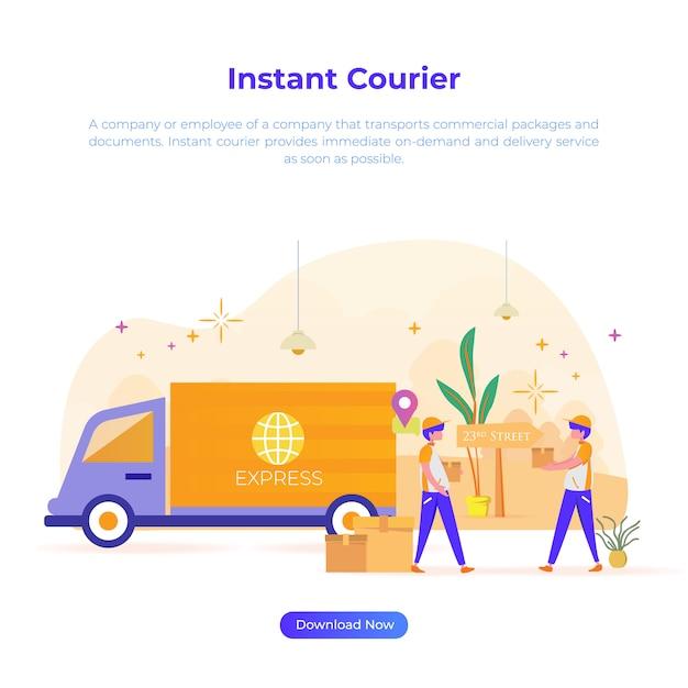 Flache designillustration des sofortkuriers für onlineshop oder e-commerce Premium Vektoren