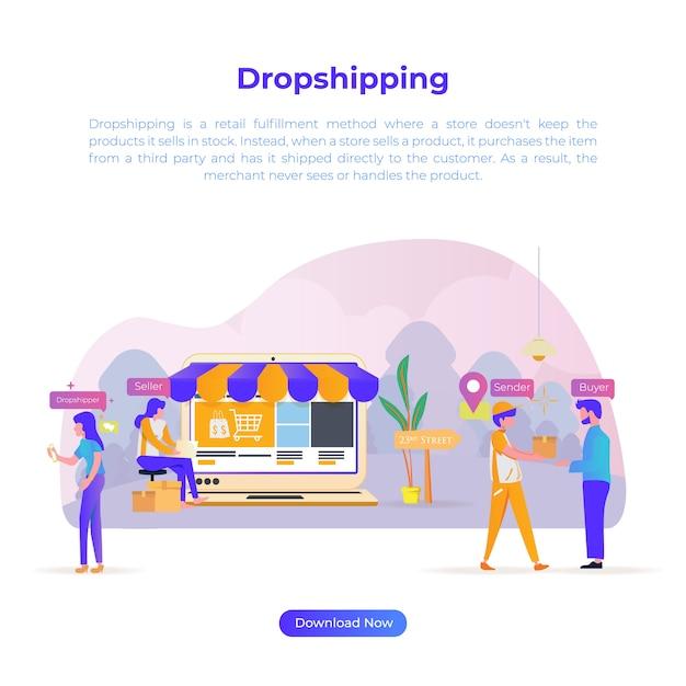 Flache designillustration des tropfenverschiffens für on-line-käufer oder e-commerce Premium Vektoren
