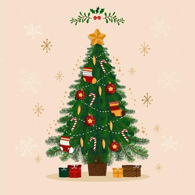 Flache designillustration des weihnachtsbaums Kostenlosen Vektoren
