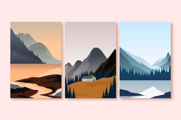Flache designillustration verschiedene landschaftspaket Premium Vektoren