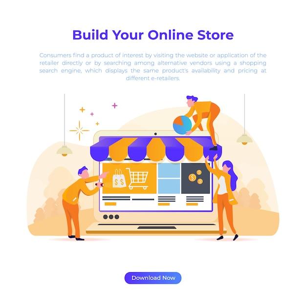 Flache designillustration, zum des online-shops für e-commerce zu errichten Premium Vektoren