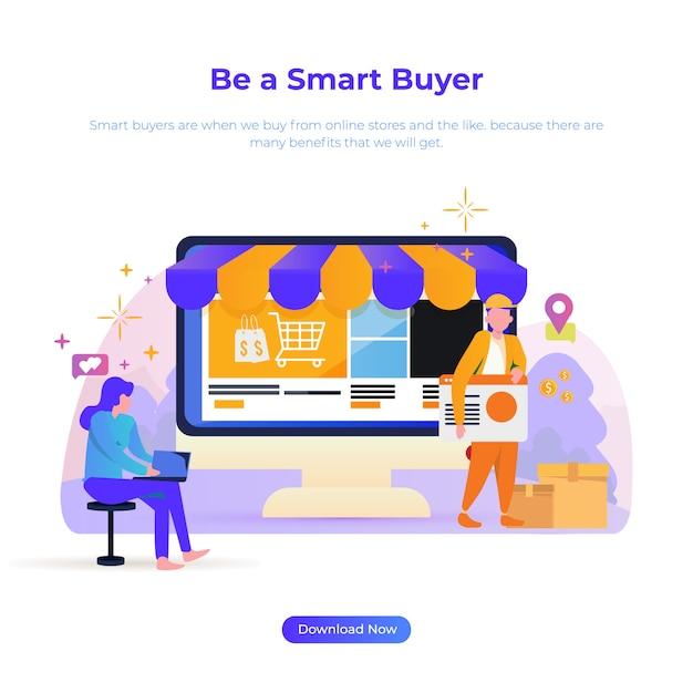 Flache designillustration, zum ein intelligenter käufer für on-line-käufer oder e-commerce zu sein Premium Vektoren