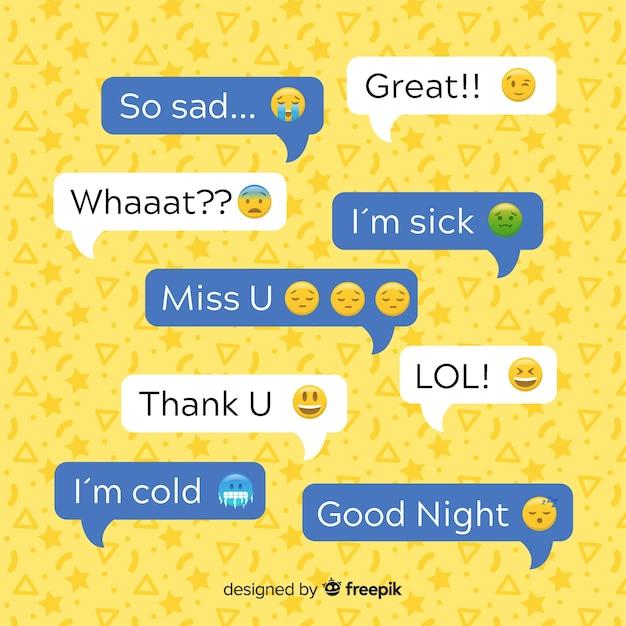 Flache designmitteilungen sprudeln mit emojis entlang ausdrücken Kostenlosen Vektoren