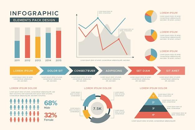 Flache designökologie infographic mit retro- farben Kostenlosen Vektoren