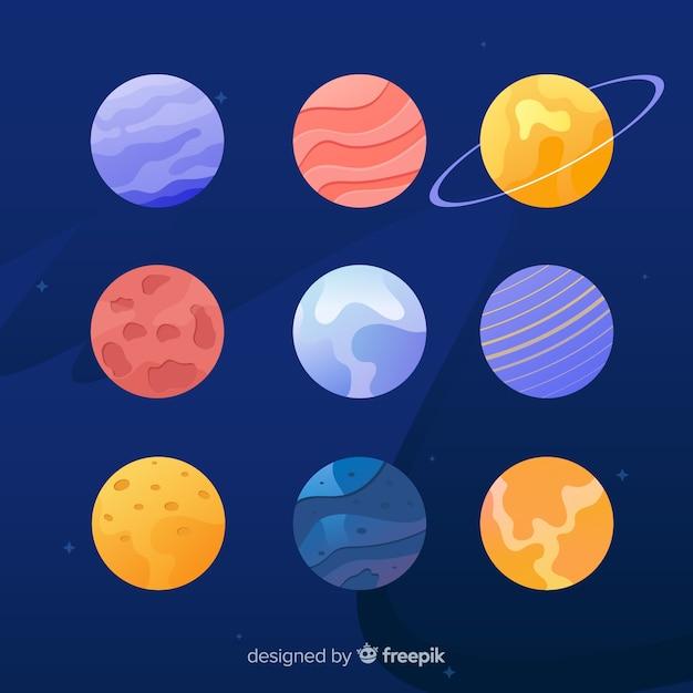 Flache designplanetensammlung auf kosmoshintergrund Kostenlosen Vektoren