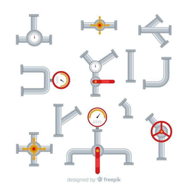 Flache designrohre mit messgerätesammlung Kostenlosen Vektoren