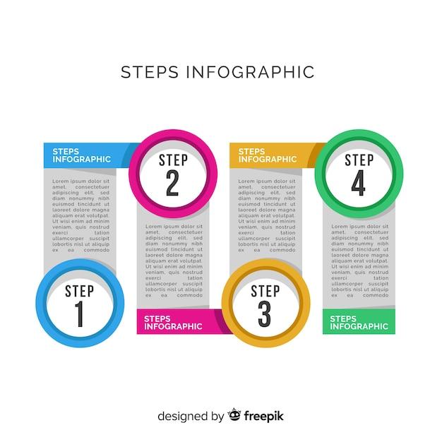 Flache designschablone der infographic-schritte Kostenlosen Vektoren