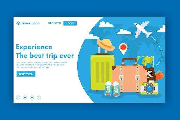 Flache designvorlagen-reiselandungsseite Kostenlosen Vektoren