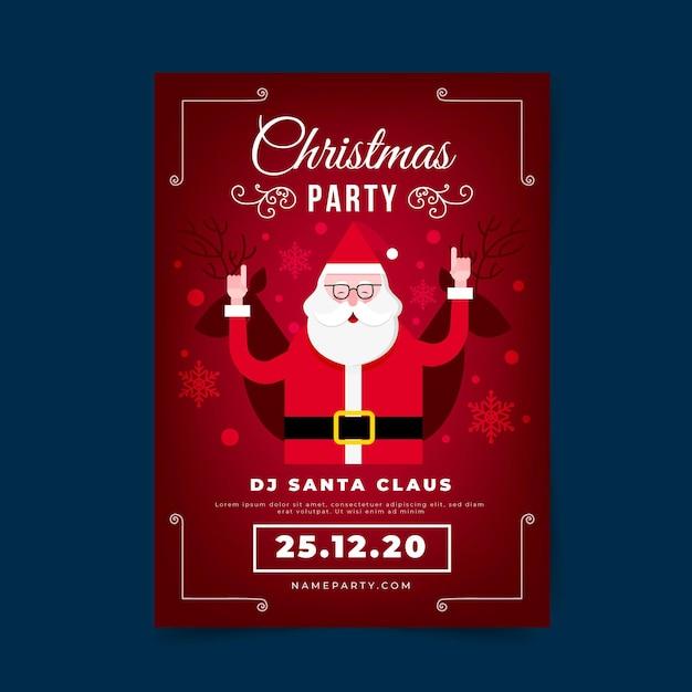 Flache designweihnachtsfeierplakatschablone Premium Vektoren